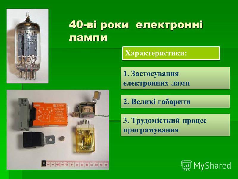 40-ві роки електронні лампи Характеристики: 1. Застосування електронних ламп 2. Великі габарити 3. Трудомісткий процес програмування