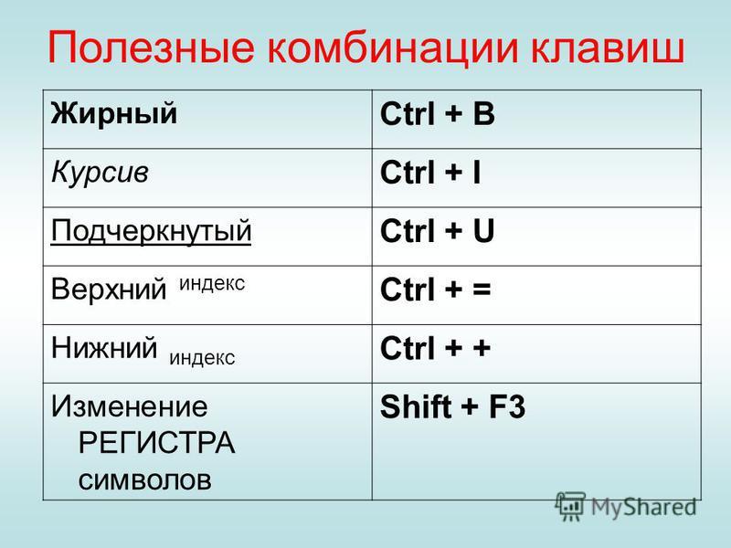 Полезные комбинации клавиш Жирный Ctrl + B Курсив Ctrl + I Подчеркнутый Ctrl + U Верхний индекс Ctrl + = Нижний индекс Ctrl + + Изменение РЕГИСТРА символов Shift + F3