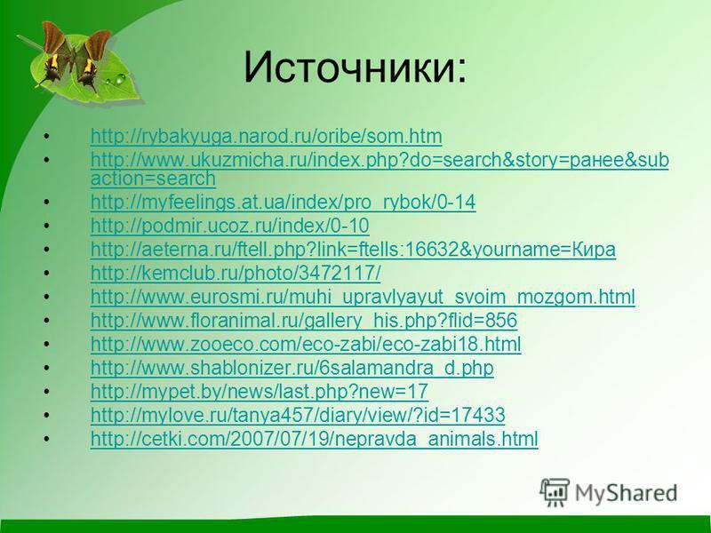 Источники: http://rybakyuga.narod.ru/oribe/som.htm http://www.ukuzmicha.ru/index.php?do=search&story=ранее&sub action=searchhttp://www.ukuzmicha.ru/index.php?do=search&story=ранее&sub action=search http://myfeelings.at.ua/index/pro_rybok/0-14 http://