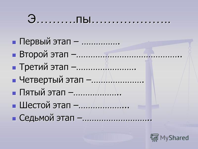 Э……….по……………….. Первый этап – ……………. Первый этап – ……………. Второй этап –…………………………………….. Второй этап –…………………………………….. Третий этап –……………………. Третий этап –……………………. Четвертый этап –…………………. Четвертый этап –…………………. Пятый этап –……………….. Пятый этап –………