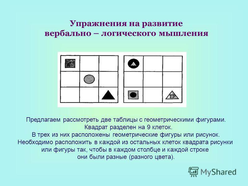 Упражнения на развитие вербально – логического мышления Предлагаем рассмотреть две таблицы с геометрическими фигурами. Квадрат разделен на 9 клеток. В трех из них расположены геометрические фигуры или рисунок. Необходимо расположить в каждой из ост