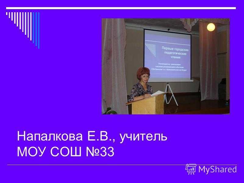 Напалкова Е.В., учитель МОУ СОШ 33