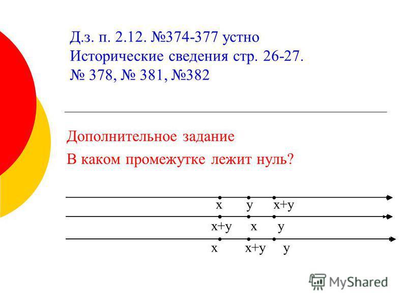 x y x+y x+y x y x x+y y Дополнительное задание В каком промежутке лежит нуль? Д.з. п. 2.12. 374-377 устно Исторические сведения стр. 26-27. 378, 381, 382
