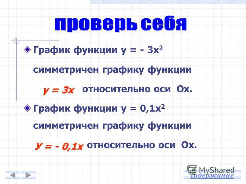 Ветви вверх Ветви вниз у = - 0,5 х 2 у = -2 х 2 у = 3 х 2 у = 0,8 х 2 Симметрия относительно оси OX содержание