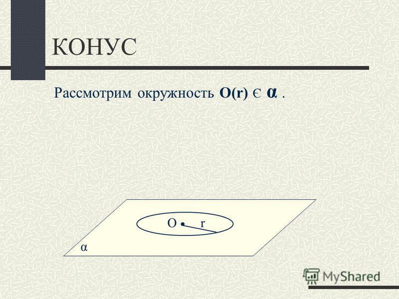 КОНУС α Рассмотрим окружность О(r) Є α. Оr