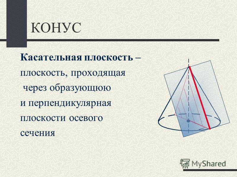КОНУС Касательная плоскость – плоскость, проходящая через образующую и перпендикулярная плоскости осевого сечения