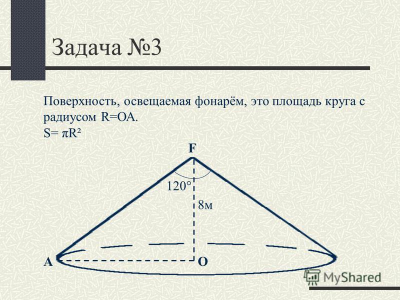 Задача 3 F О Поверхность, освещаемая фонарём, это площадь круга с радиусом R=ОА. S= πR² 120° 8 м А