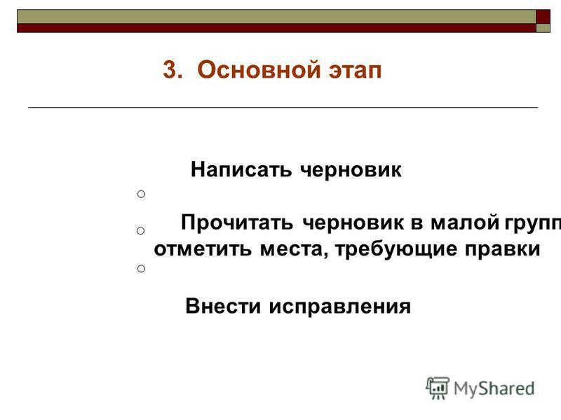 3. Основной этап Написать черновик Прочитать черновик в малой группе, отметить места, требующие правки Внести исправления