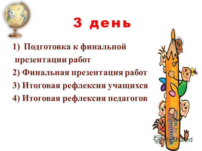 1)Подготовка к финальной презентации работ 2) Финальная презентация работ 3) Итоговая рефлексия учащихся 4) Итоговая рефлексия педагогов 3 день