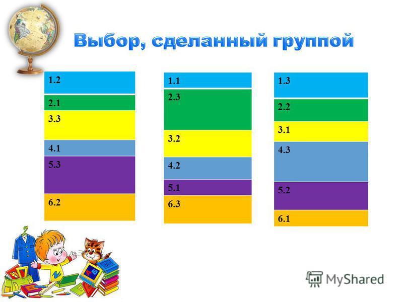 1.2 2.1 3.3 4.14.1 5.3 6.2 1.1 2.3 3.2 4.2 5.1 6.3 1.3 2.2 3.1 4.3 5.2 6.1