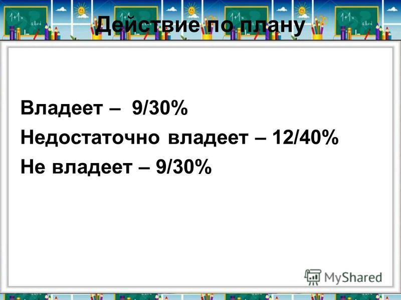 Действие по плану Владеет – 9/30% Недостаточно владеет – 12/40% Не владеет – 9/30%