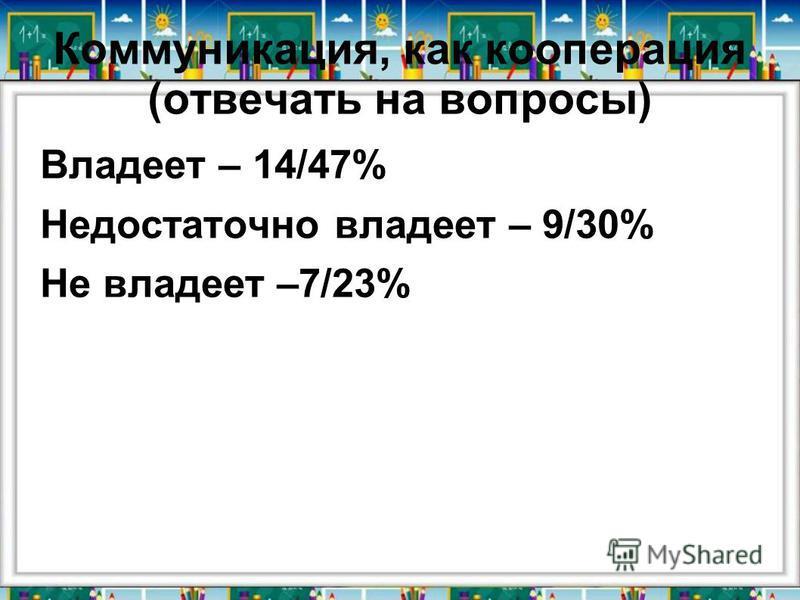 Коммуникация, как кооперация (отвечать на вопросы) Владеет – 14/47% Недостаточно владеет – 9/30% Не владеет –7/23%