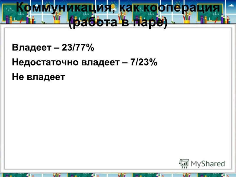 Коммуникация, как кооперация (работа в паре) Владеет – 23/77% Недостаточно владеет – 7/23% Не владеет