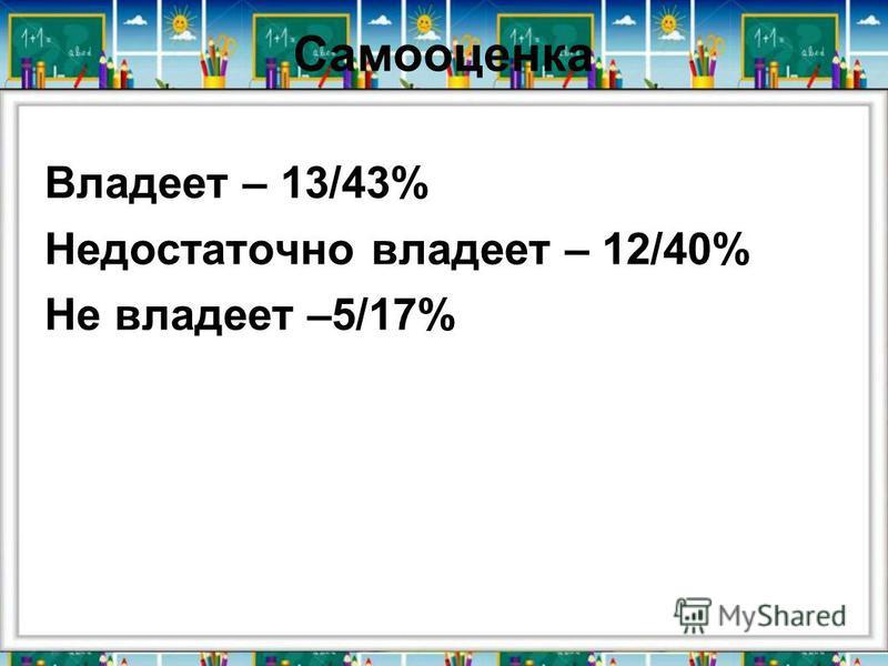Самооценка Владеет – 13/43% Недостаточно владеет – 12/40% Не владеет –5/17%