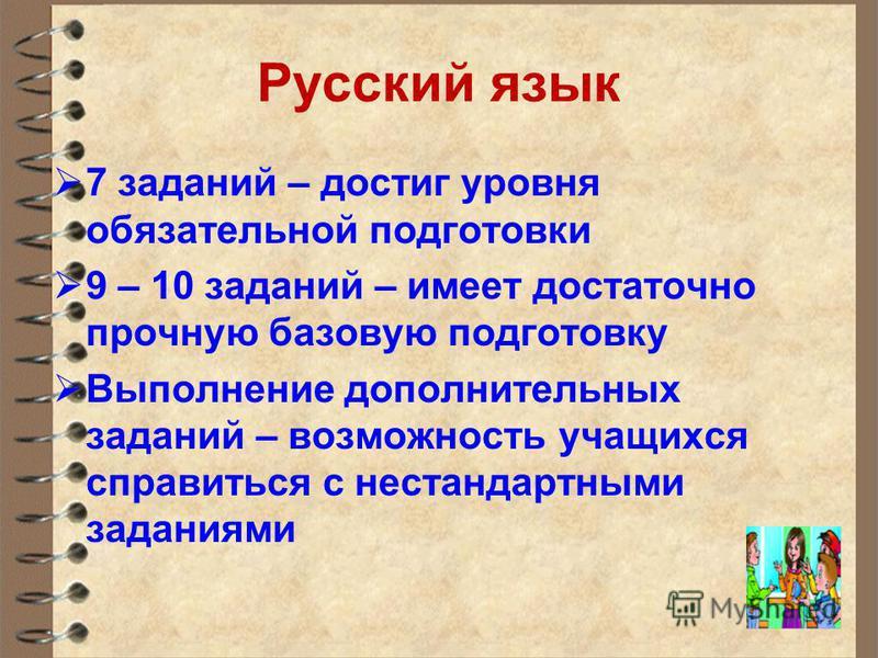 Русский язык 7 заданий – достиг уровня обязательной подготовки 9 – 10 заданий – имеет достаточно прочную базовую подготовку Выполнение дополнительных заданий – возможность учащихся справиться с нестандартными заданиями