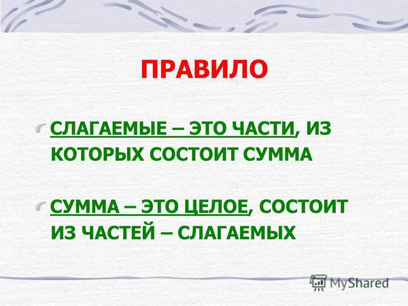 СЛОЖЕНИЕ + = К + Ж = Ф 1 слагаемое 2 слагаемое сумма