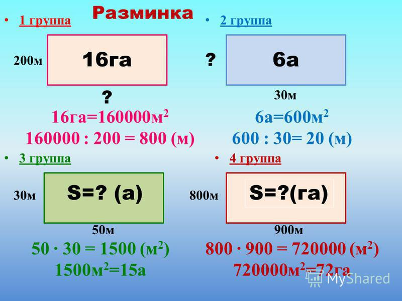 1 группа 2 группа 3 группа Разминка 16 га=160000 м 2 160000 : 200 = 800 (м) 6 а=600 м 2 600 : 30= 20 (м) 800 · 900 = 720000 (м 2 ) 720000 м 2 =72 га 16 га 200 м ? 50 м S=? (а) 900 м 6 а 30 м ? 800 м 4 группа S=?(га) 50 · 30 = 1500 (м 2 ) 1500 м 2 =15