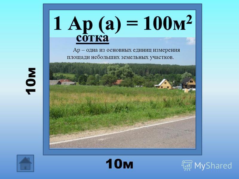 10 м Ар – одна из основных единиц измерения площади небольших земельных участков.