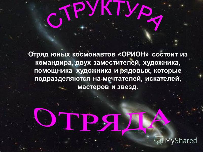 Отряд юных космонавтов «ОРИОН» состоит из командира, двух заместителей, художника, помощника художника и рядовых, которые подразделяются на мечтателей, искателей, мастеров и звезд.