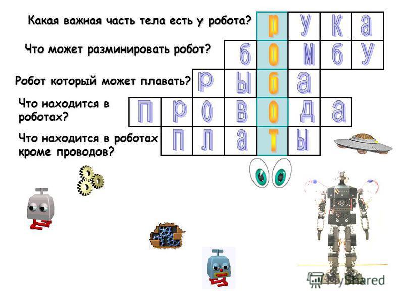Какая важная часть тела есть у робота? Что может разминировать робот? Что находится в роботах? Что находится в роботах кроме проводов? Робот который может плавать?