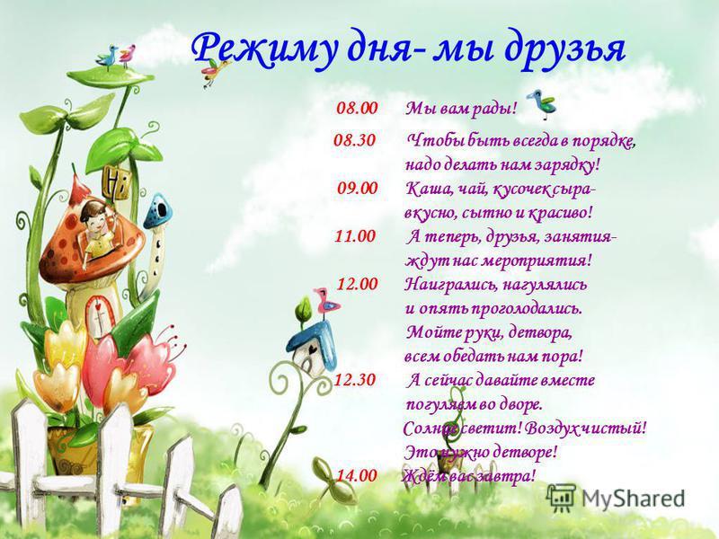Режиму дня- мы друзья 08.00 Мы вам рады! 08.30 Чтобы быть всегда в порядке, надо делать нам зарядку! 09.00 Каша, чай, кусочек сыра- вкусно, сытно и красиво! 11.00 А теперь, друзья, занятия- ждут нас мероприятия! 12.00 Наигрались, нагулялись и опять п
