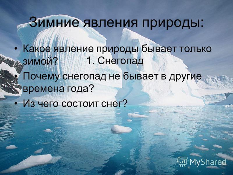 Зимние явления природы: Какое явление природы бывает только зимой? Почему снегопад не бывает в другие времена года? Из чего состоит снег? 1. Снегопад