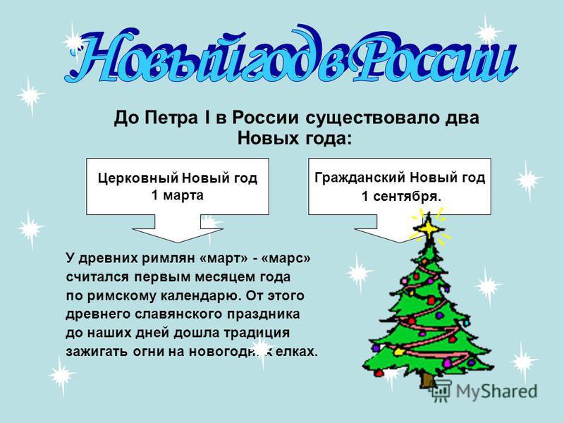 До Петра I в России существовало два Новых года: У древних римлян «март» - «марс» считался первым месяцем года по римскому календарю. От этого древнего славянского праздника до наших дней дошла традиция зажигать огни на новогодних елках. Церковный Но