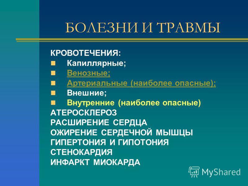 БОЛЕЗНИ И ТРАВМЫ КРОВОТЕЧЕНИЯ: Капиллярные; Венозные; Артериальные (наиболее опасные); Внешние; Внутренние (наиболее опасные) АТЕРОСКЛЕРОЗ РАСШИРЕНИЕ СЕРДЦА ОЖИРЕНИЕ СЕРДЕЧНОЙ МЫШЦЫ ГИПЕРТОНИЯ И ГИПОТОНИЯ СТЕНОКАРДИЯ ИНФАРКТ МИОКАРДА
