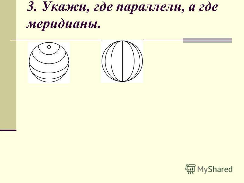 3. Укажи, где параллели, а где меридианы.