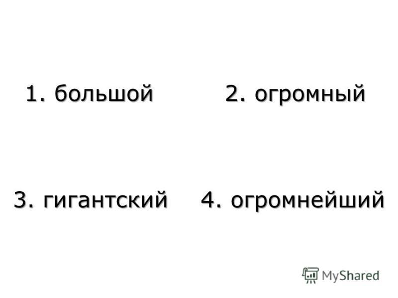 1. большой 2. огромный 3. гигантский 4. огромнейший