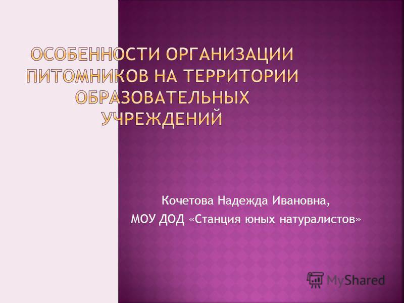 Кочетова Надежда Ивановна, МОУ ДОД «Станция юных натуралистов»