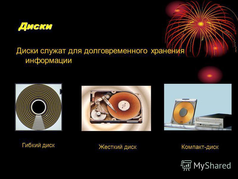 Диски Диски служат для долговременного хранения информации Гибкий диск Жесткий диск Компакт-диск