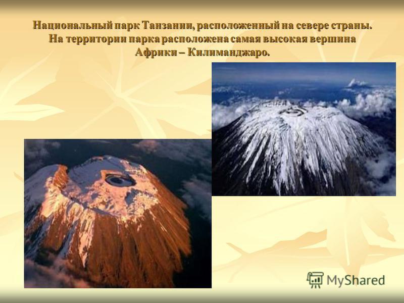 Национальный парк Танзании, расположенный на севере страны. На территории парка расположена самая высокая вершина Африки – Килиманджаро.