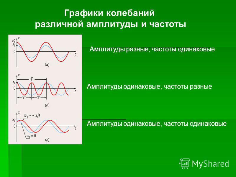 Амплитуды разные, частоты одинаковые Амплитуды одинаковые, частоты разные Амплитуды одинаковые, частоты одинаковые Графики колебаний различной амплитуды и частоты