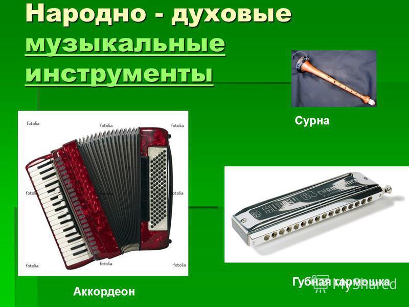 Народно - духовые музыкальные инструменты музыкальные инструменты музыкальные инструменты Губная гармошка Аккордеон Сурна
