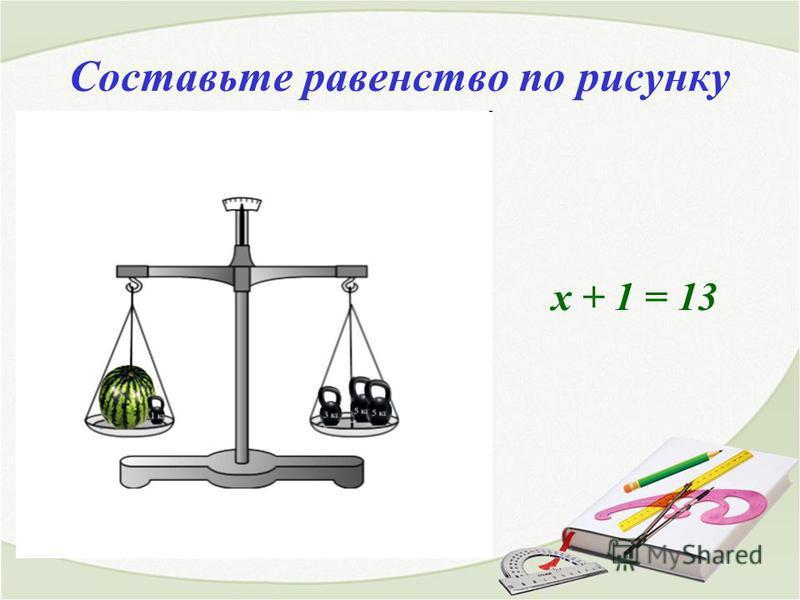 Составьте равенство по рисунку х + 1 = 13