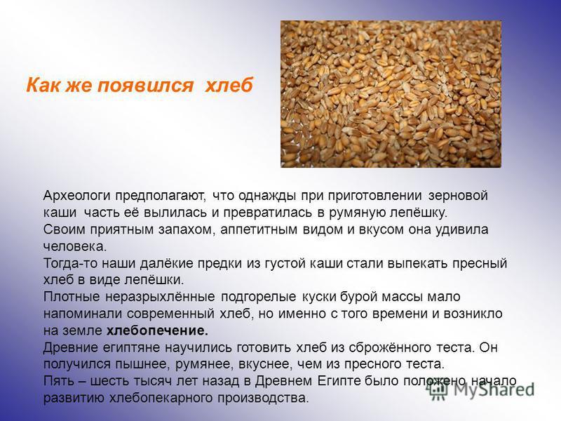 Археологи предполагают, что однажды при приготовлении зерновой каши часть её вылилась и превратилась в румяную лепёшку. Своим приятным запахом, аппетитным видом и вкусом она удивила человека. Тогда-то наши далёкие предки из густой каши стали выпекать