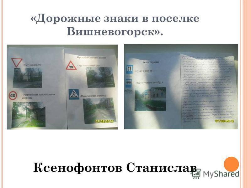«Дорожные знаки в поселке Вишневогорск». Ксенофонтов Станислав