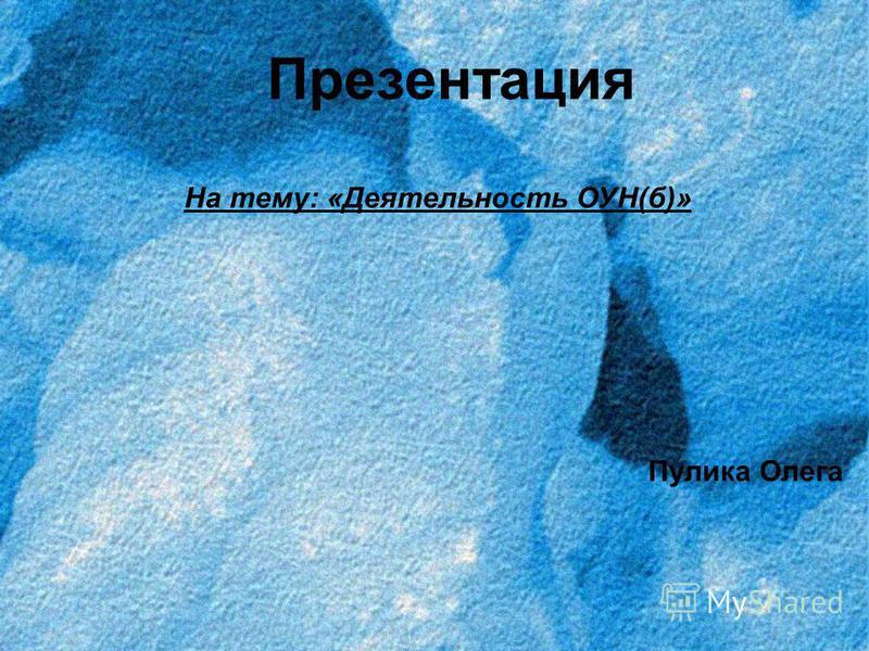 Презентация На тему: «Деятельность ОУН(б)» Пулика Олега