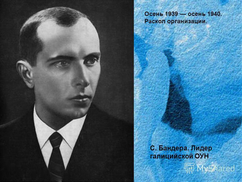 Осень 1939 осень 1940. Раскол организации. С. Бандера. Лидер галицийской ОУН.