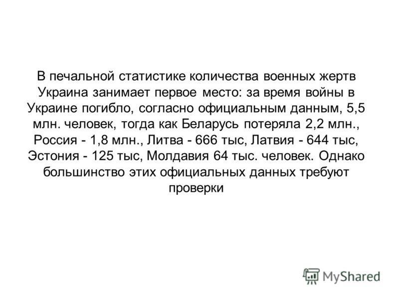 В печальной статистике количества военных жертв Украина занимает первое место: за время войны в Украине погибло, согласно официальным данным, 5,5 млн. человек, тогда как Беларусь потеряла 2,2 млн., Россия - 1,8 млн., Литва - 666 тыс, Латвия - 644 тыс