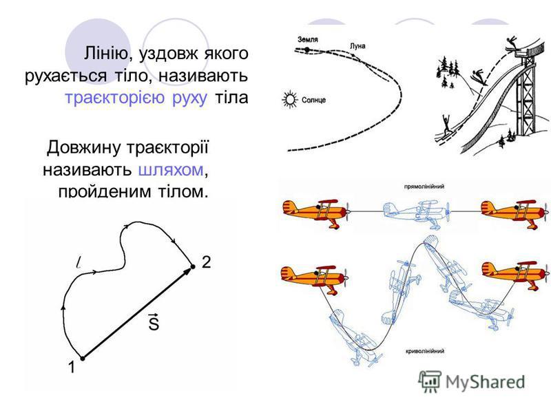 Лінію, уздовж якого рухається тіло, називають траєкторією руху тіла Довжину траєкторії називають шляхом, пройденим тілом.
