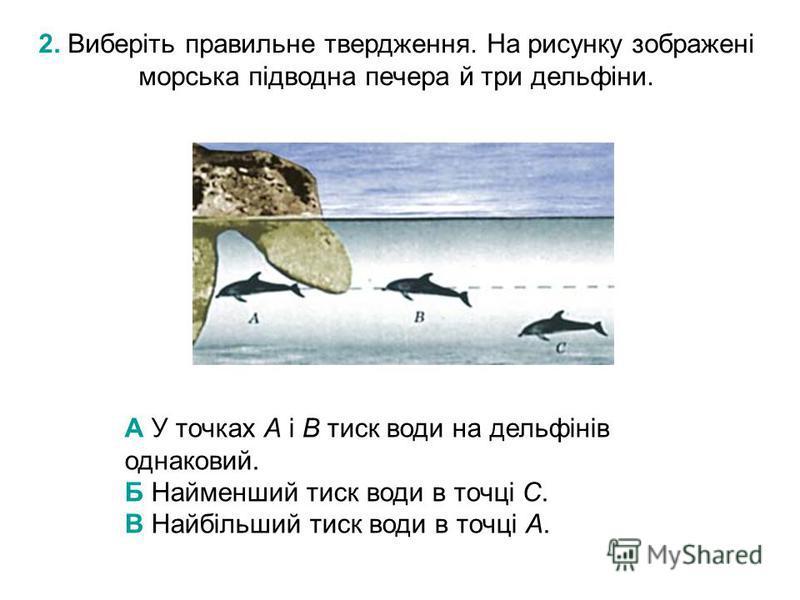 2. Виберіть правильне твердження. На рисунку зображені морська підводна печера й три дельфіни. А У точках А і В тиск води на дельфінів однаковий. Б Найменший тиск води в точці С. В Найбільший тиск води в точці А.