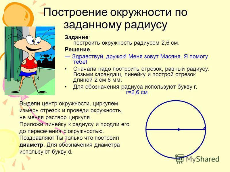 Задание: построить окружность радиусом 2,6 см. Решение. Здравствуй, дружок! Меня зовут Масяня. Я помогу тебе! Сначала надо построить отрезок, равный радиусу. Возьми карандаш, линейку и построй отрезок длиной 2 см 6 мм. Для обозначения радиуса использ