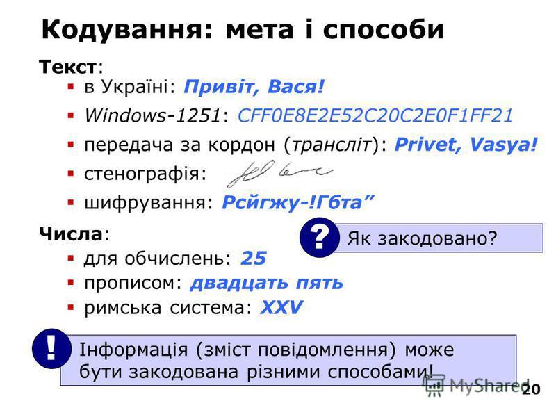 20 Кодування: мета і способи Текст: в Україні: Привіт, Вася! Windows-1251: CFF0E8E2E52C20C2E0F1FF21 передача за кордон (трансліт): Privet, Vasya! стенографія: шифрування: Рсйгжу-!Гбта Інформація (зміст повідомлення) може бути закодована різними спосо
