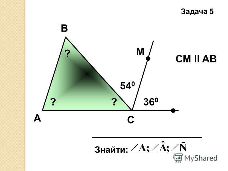 А Задача 5 B C Знайти: СМ ll AB 54 0 36 0 М ? ??