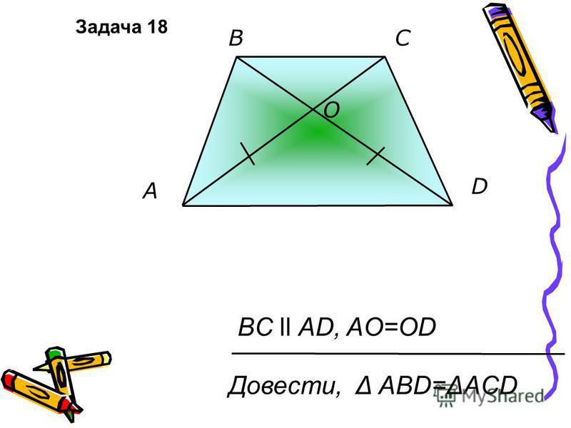 O A D BC BC ll AD, AO=OD Довести, Δ АВD=ΔACD Задача 18