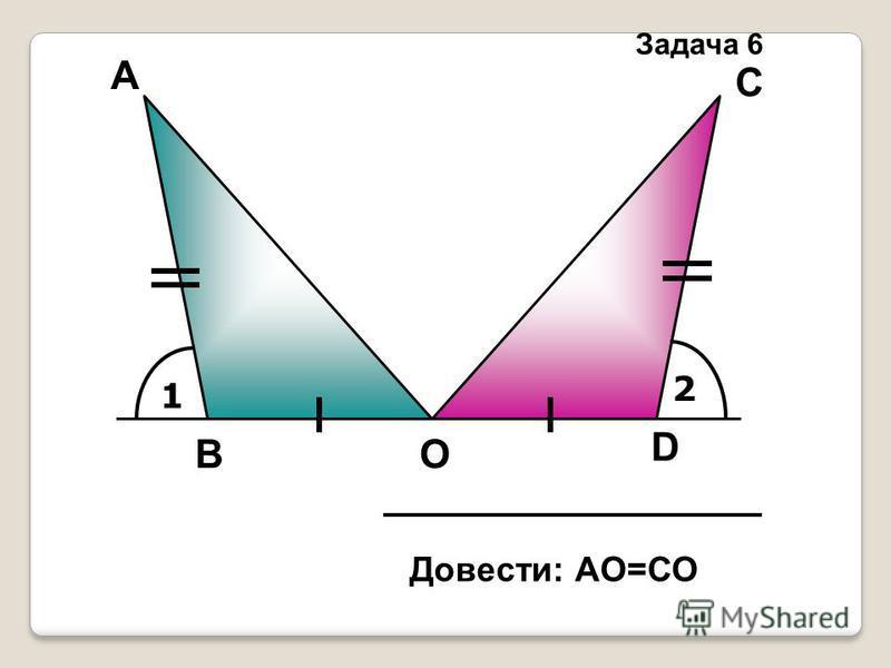 1 2 А D С ОВ Довести: АО=СО Задача 6