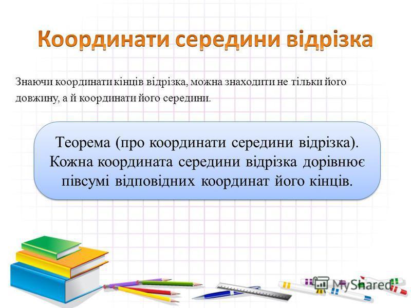 Знаючи координати кінців відрізка, можна знаходити не тільки його довжину, а й координати його середини. Теорема (про координати середини відрізка). Кожна координата середини відрізка дорівнює півсумі відповідних координат його кінців. Теорема (про к