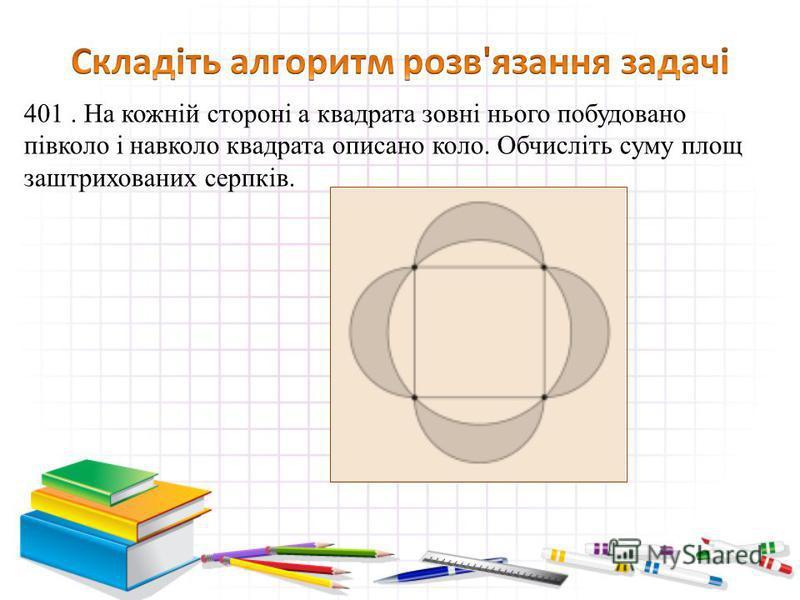 401. На кожній стороні а квадрата зовні нього побудовано півколо і навколо квадрата описано коло. Обчисліть суму площ заштрихованих серпків.